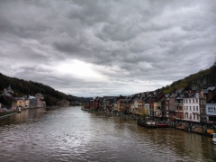 Autumn rainy day in Dinant, Belgium