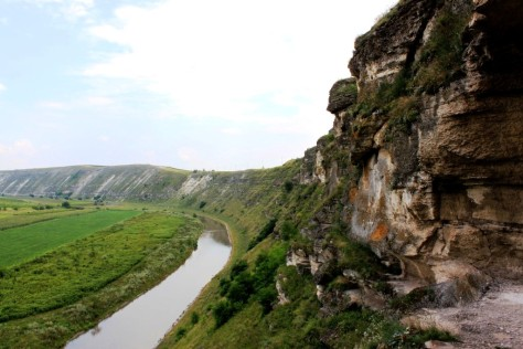 """View over the Raut river from the """"balcony"""" linked with the monastery complex, carved into a massive limestone"""
