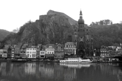 Black and white. Citadel and the main church of Dinant