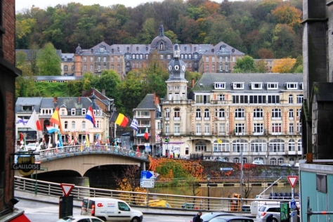 Dinant streets, Meuse river and the palace in the  background