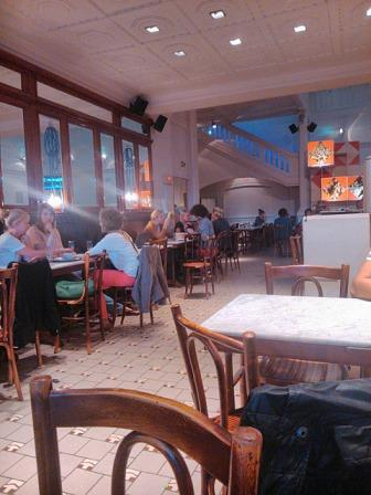 At the Vooruit cafe in Ghent