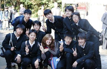 High school students at Kinkakuji
