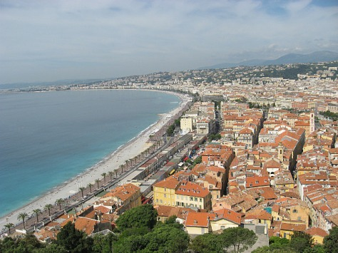 View from the hill over the Riviera and the Old Town in Nice