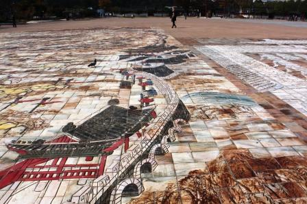 A very nice mosaic pavement on the square in front of the fortress
