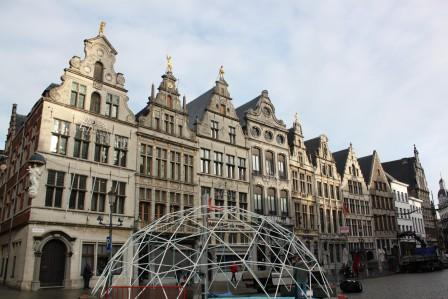 Houses around one of the main squares in Antwerp
