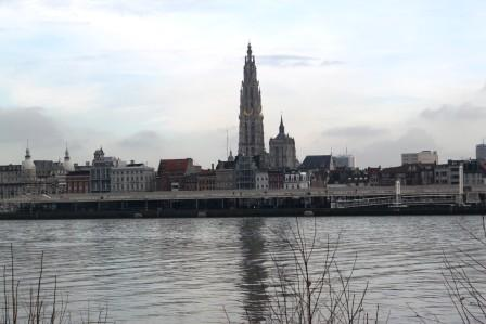 Antwerp cathedral. View from across the river