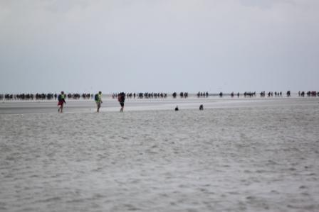 People walking on the ocean floor