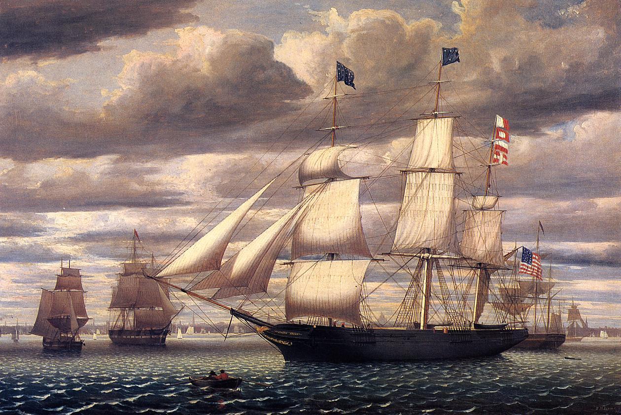 Clipper ship Southern Cross leaving Boston Harbor, 1851, by Fitz Hugh Lane