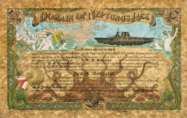 A Neptune's certificate given on board U.S.S. Saratoga May 1936