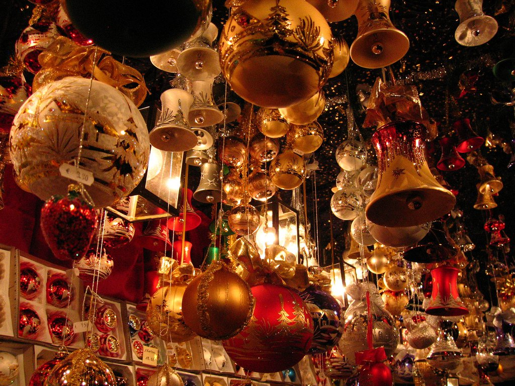 Ornaments at a Christmas market in Nuremberg, Germany